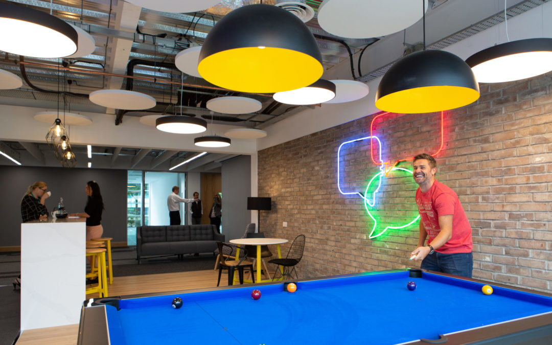 play pool in the neon building