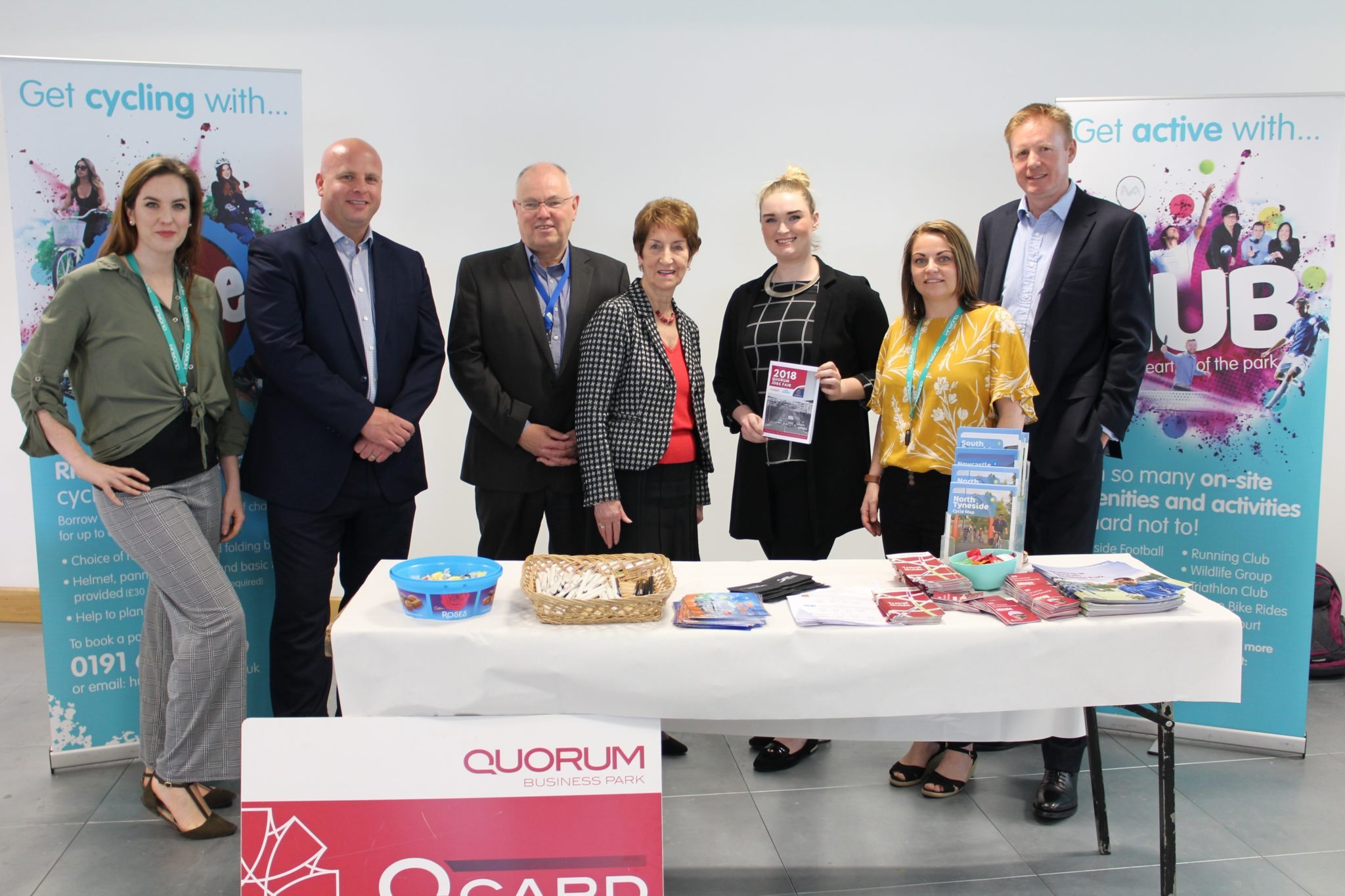 The Hub Team, Engie's Dave Hughes, Craig Reid from North Tyneside Council and Mayor Norma Redfern at Quorum Jobs Fair.