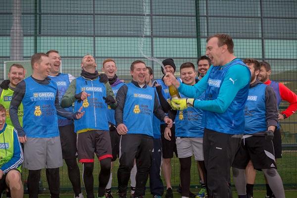 Footballers celebrate