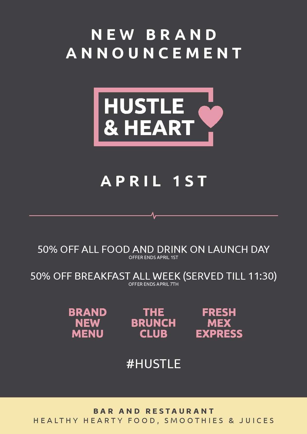 Hustle and Heart Launch Flyer