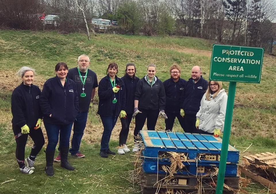 Bug Hotel Picture with Volunteer Office Workers at Quorum Newcastle