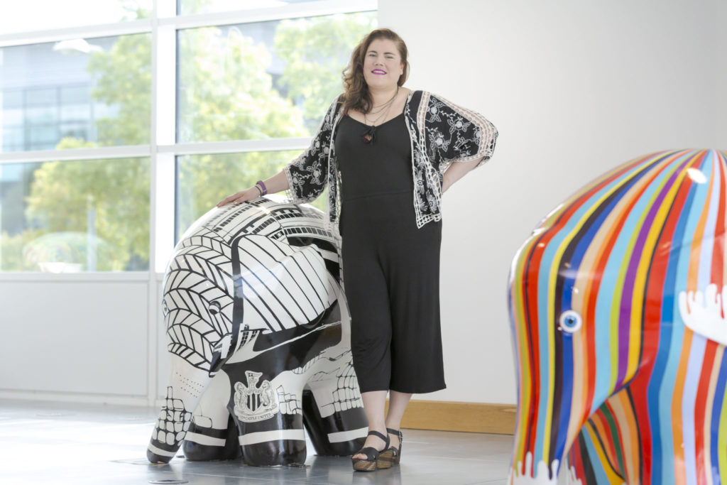 Artist Corinne Lewis-Ward attends the Elmer's Read North Parade preview event at Quorum Business Park in Newcastle Picture: DAVID WOOD