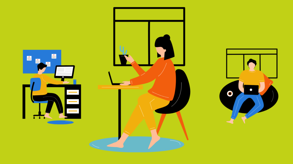 Cartoon images of people working from home