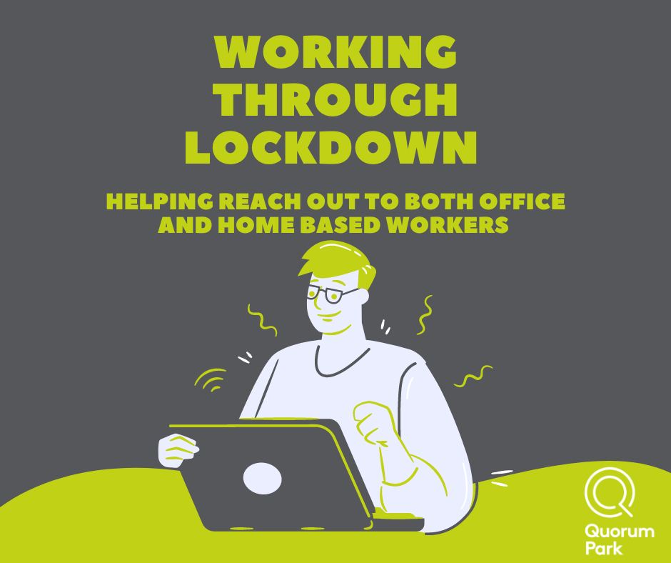 Flyer for our E Zine - showing cartoon of someone working from home on their laptop
