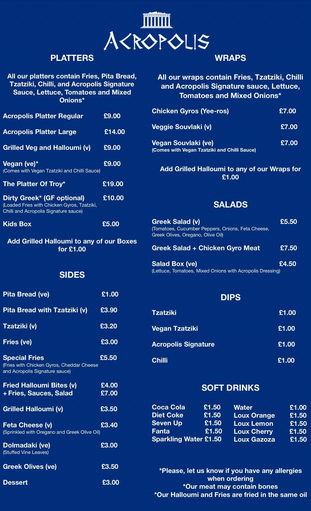 Acropolis menu