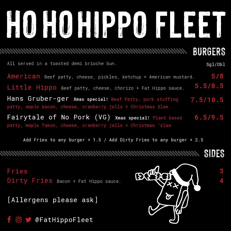 Fat Hippo Christmas Food Menu