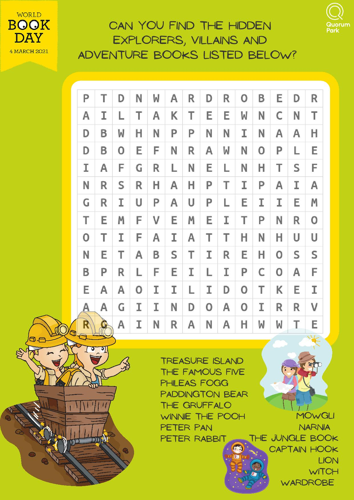 World Book Day Free Wordsearch