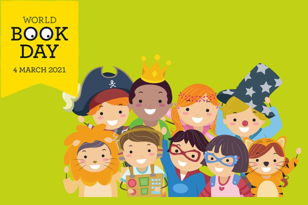 World Book Day event header. Children in fancy dress