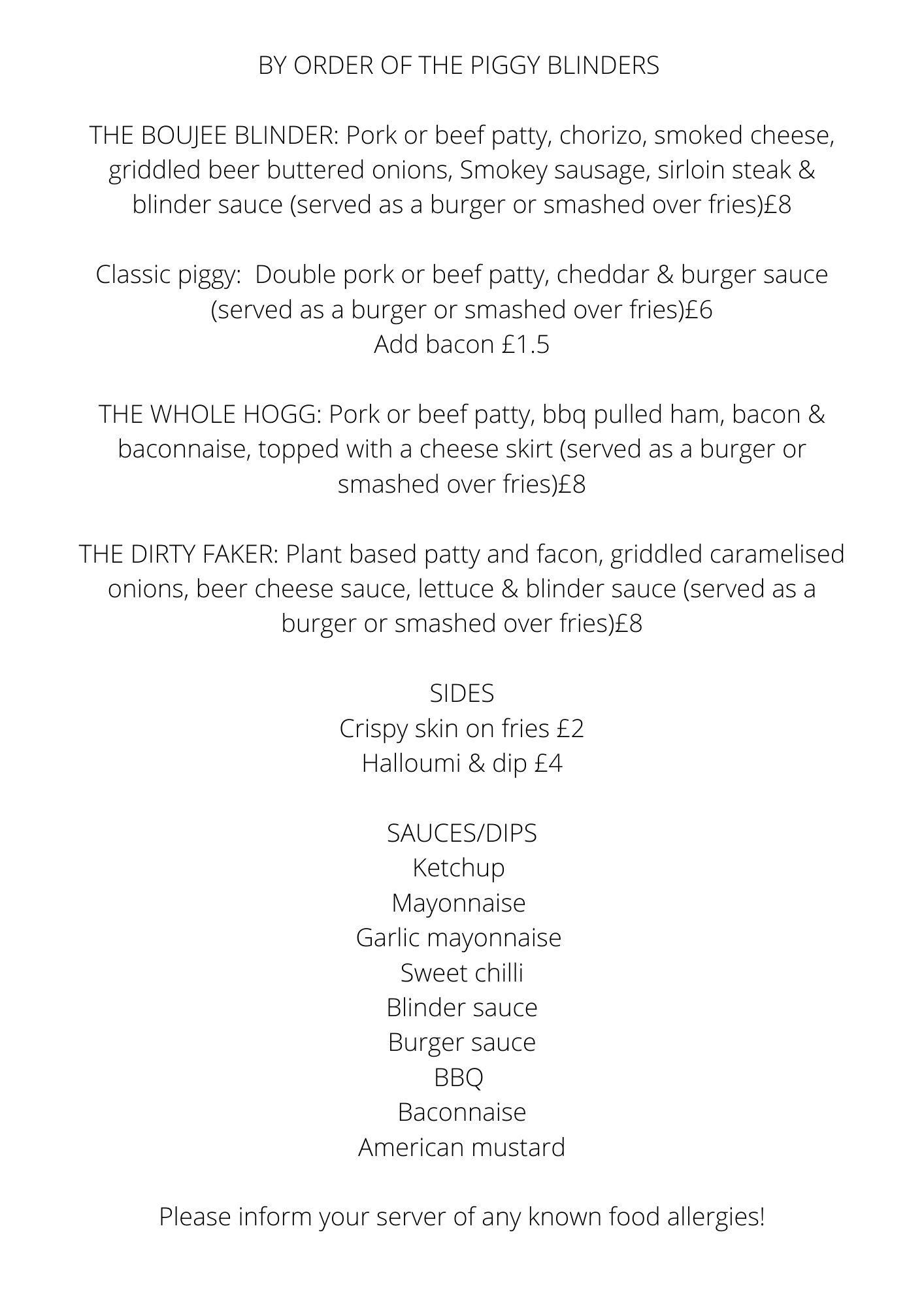 Piggy Blinders menu
